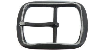 """Belt Buckle - Black White Oval Centre Bar Style Buckle To Suit 1.5"""" Snap On Belt"""