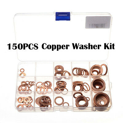 IT- 150x  15 Sizes Assorted Solid Copper Gasket Washers Sealing Ring Set + Box G