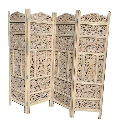 4 Panel Heavy Duty Carved Indian Screen Wooden Leaves Room Divider Natural