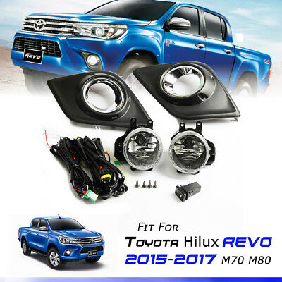 CHROME L+R FOG LAMPS SPOT LIGHTS COVER FOR TOYOTA HILUX REVO SR5 M70 M80 2015-ON