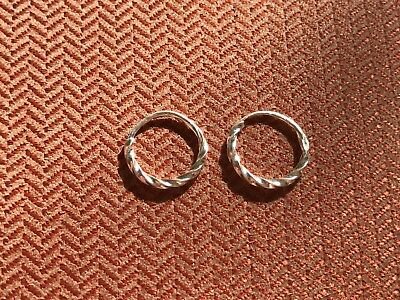 Pair of S925 Sterling Silver 8mm Twisted Wire Rings Body Piercing Lip Nose Ear