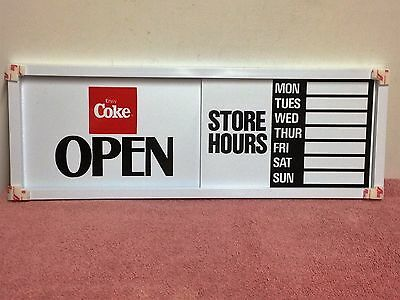 Coca-Cola Sliding Store Door Sign Open/Closed With Hours Circa 1980's NOS