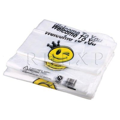 500 Piece 32 x 50cm High Density Smiling Face Carry Shopping Vest Bags