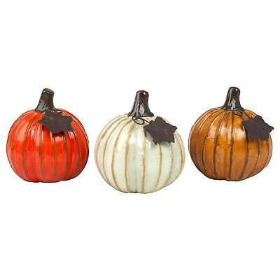 Set of 3 Ceramic Pumpkin Garden or Home Ornaments Halloween Decorations