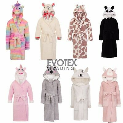 Girls Boys Childrens Animal Novelty Fleece Dressing Gown/Robe Age 3 - 10 Years