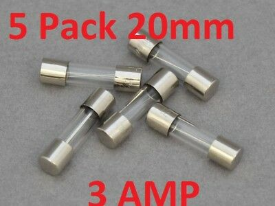 5x 20MM * 3 AMP * FAST ACTING QUICK BLOW GLASS TUBE FUSES AUST SUPPLIER CHEAP