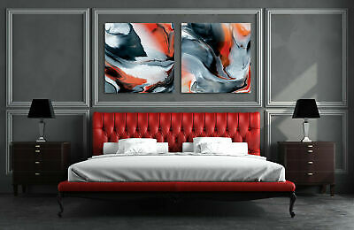 Set of 2 Abstract Stretched Canvas Print Framed Wall Art Hanging Black Red Gift