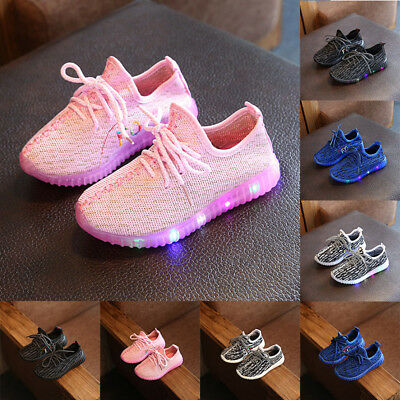 New LED Light Up Kids Boys Girls Trainer Knitted Sneakers Luminous Leisure Shoes