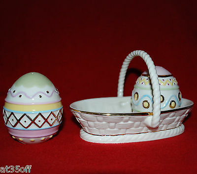 LENOX Easter Egg Salt and Pepper Shakers with Basket - New in Box 816862