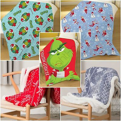 Christmas Fleece Blankets Throws - Elf On The Shelf, Grinch, Nordic Print