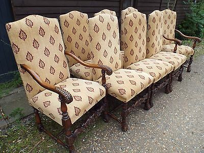 Eight (6+2) William & Mary Antique Style Dining Chairs BRIGHTS OF NETTLEBED