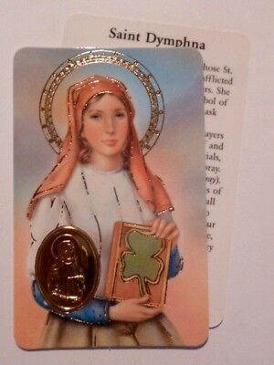 ST DYMPHNA ~ Prayer ~ Embossed Medal ~ CREDIT CARD SIZE ~ PACK OF TWO
