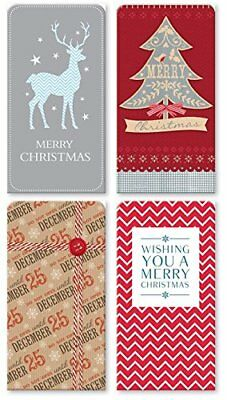 Pack Of 4 Christmas Money Wallet Gift Cards & Envelopes - Modern Silver Designs