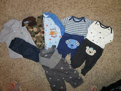 Boys 0-3 month fall, 3 outfits, 2 sleepers, 1 bib overalls