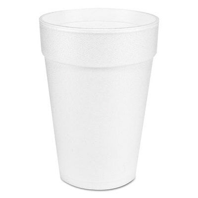 Dart Large Foam Drink Cup 14 oz Hot/Cold White 25/Bag 40 Bags/Carton 14J12