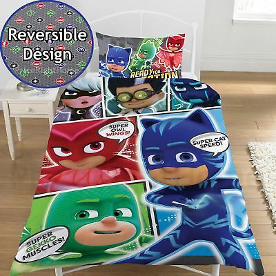 Pj Masks Comic Single Duvet Cover Set Reversible Kids Boys Bedding