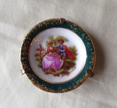 TINY LIMOGES France PLATE - 1 5/8 dia * Fragonard, gold/green border