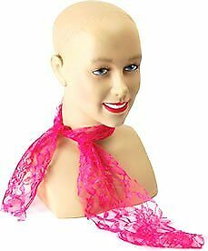 1980S 80S Neon Pink Lace Scarf Fancy Dress Costume New