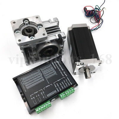 1.8Nm Nema23 2ph Stepper Motor L76mm 30:1 Worm Gearbox Speed Reducer with Driver