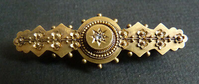 Broche en OR massif 15k + diamant gold pin bijou ancien