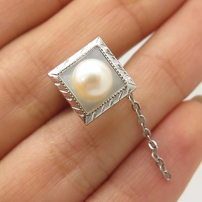 925 Sterling Silver Real Pearl Pin