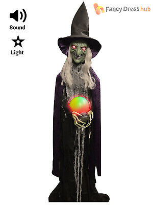 Lifesize Witch Prop with light up Crystal Ball + Sound Halloween Party Decoratio