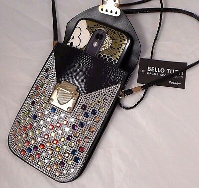 NEW Cell Phone Cross-body Purse Handbag Rhinestones Red Black Silver Hot Pink