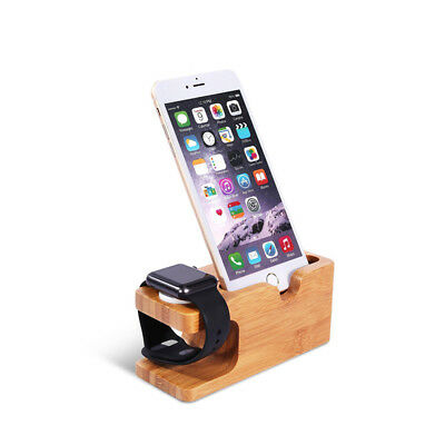 Wood Charging Dock Station Charger Stand Holder for iPhone Apple Watch