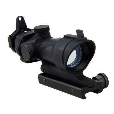 Tactical 4x32 Real Fiber Optic Illuminated Rifle Scope Red Green Dot Laser