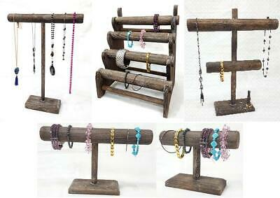T Bar Wooden Jewelry Display Stand Wooden Necklace Bracelet Countertop Display