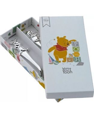 Winnie the Pooh Silver Plated Fork and Spoon Set BNIB Christening New Baby Gift