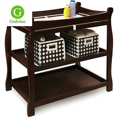 Badger Basket Espresso Sleigh style Changing Table Kids Furniture Toddler Baby