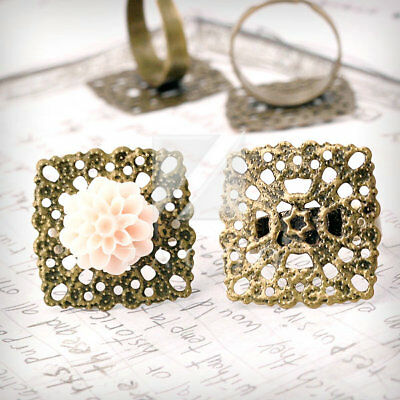 5/10pcs Square/Flower/Flat Round Engagement Setting Ring Mountings Antique Brass