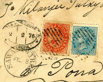 DBW129a 1876 PORTUGUESE COLONIES INDIA *Mixed Franking* Sawantwaree Cover Poona