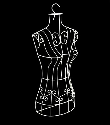 White Female Wire Metal Body Dress Form Mannequin with Hook - NEW