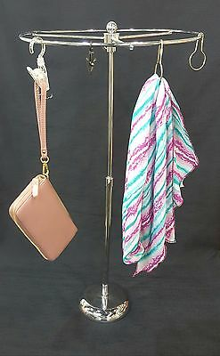 Counter Top Scarf Purse Display Rack With 20 Free Clips/Hooks -