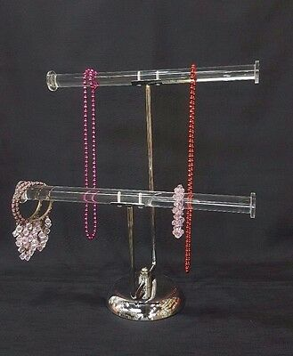 Heavy Duty 2 Tier Jewelry Display Stand Holder Bracelet Chain Bangle T-bar