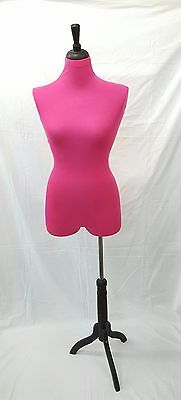 Female Mannequin Torso Dress Form Display Wide Black Tripod Stand PINK Pinnable