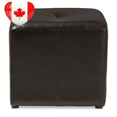 Baxton Studio Lave Cube-Shaped Bonded-Leather Ottoman, Small, Brown