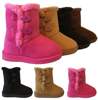 Infant Toddler Girls Winter Button Faux Fur Suede Button Boots Shoes USA SELLER