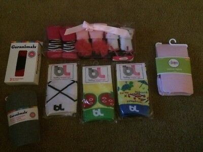 Lot Of New Newborn 0-6 Months Baby Leg Warmers , Tights And Shoe/socks
