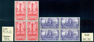 """RC_10_13. ITALY. Blocks of stamps of 1931 """"ACCADEMIA NAVALE LIVORNO"""" set. Used."""