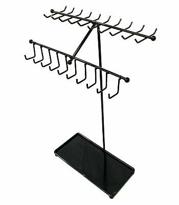 Black Metal Necklace Display Stand, Jewelry Organizer Rack - 30 Hooks