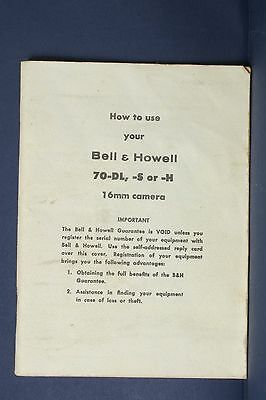 F69339~ Bell & Howell 70-DL, S or H Movie Camera Instruction Manual
