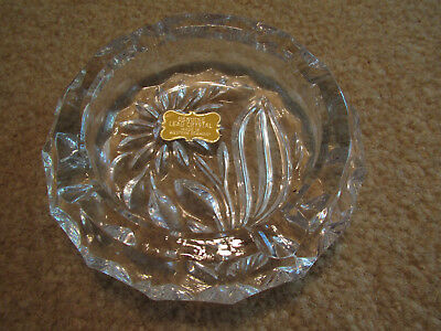 NWT Vintage Lead Crystal Classic Ashtray 5 inches Made in Germany Sun Flower
