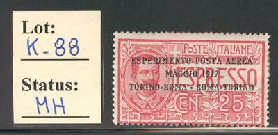 K_88. ITALY. 1917 1st WORLD AIR MAIL stamp Mint