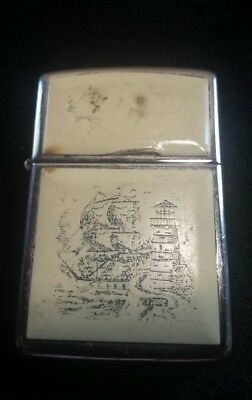 Vintage Zippo Lighter Scrimshaw ~ Estate Collection