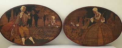 French Antique Pair of Wood Carving & Painting Picture