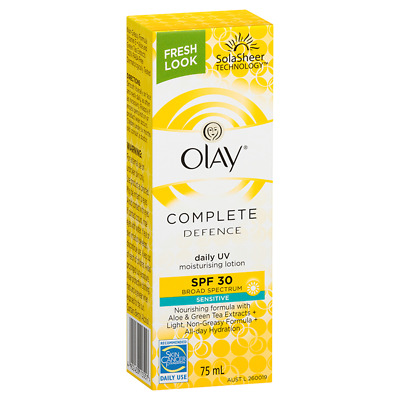 Olay Complete Defence Daily UV Moisturising Lotion Sensitive SPF 30 75mL NEW