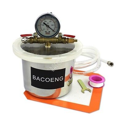 BACOENG 2 Quart Stainless Steel Vacuum Chamber Silicone Kit for Degassing Res...